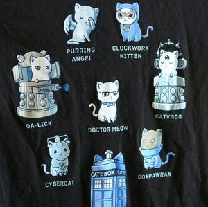 Tops - Doctor Who Cats T-Shirt. Nerd Geek BBC British M